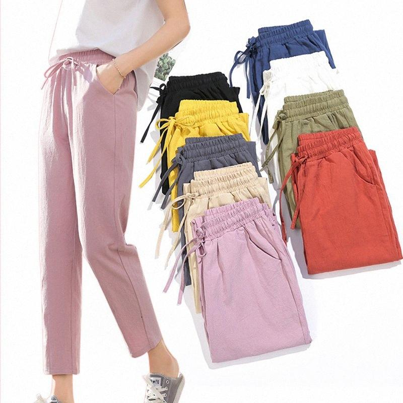 Womens Spring Summer Pants Cotton Linen Solid Elastic waist Candy Colors Harem Trousers Soft high quality for Female ladys S-XXL Y2004 e4sv#