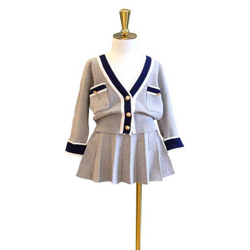 أزياء أطفال الفتيات الملابس مجموعات طويلة الأكمام سترة قميص تنورة تنورة القوس الطفل ملابس فتاة الملابس