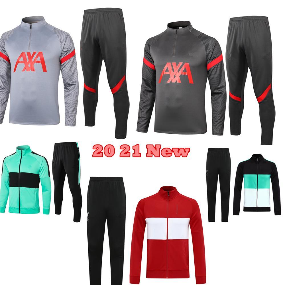 20 21 Top Quality conjuntos de treino de futebol jaqueta survêtement 2020 2021 manga longa conjuntos de treinamento de futebol jaqueta com zíper terno dos homens
