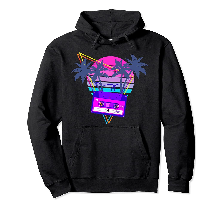 90s vaporwave Tramonto del nastro a cassetta in stile Outrun Synthwave pullover con cappuccio unisex di formato S-5XL con colore nero / grigio / blu / azzurro reale / scuro Lui
