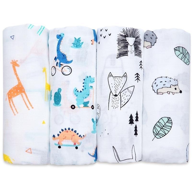 Муслине хлопчатобумажный бамбуковый ребенок, получение одеяло мягкое новорожденное детское одеяло для ванны полотенце младенца муслиновая пеленатканая упаковка детские аксессуары LJ201014