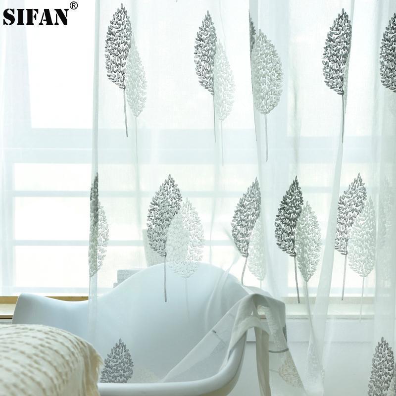Bordados de tul Cortinas para el dormitorio superposición de las hojas de ventana gasa cortina escarpada para estar Cocina