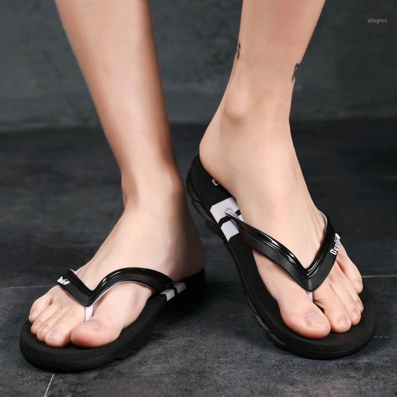 Zapatillas 2021 hombres verano flip flop deslizador sandalia casual al aire libre antideslizante playa pinzas interiores femme ete plage # da1