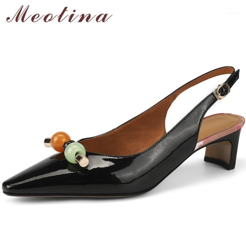 Sapatos de vestido Meotina Med Heels Real Couro Slingbacks Mulheres Pointed Toe Bloqueio Bombas de Salto Buckle Decoração de Metal Senhoras Calçado Branco1