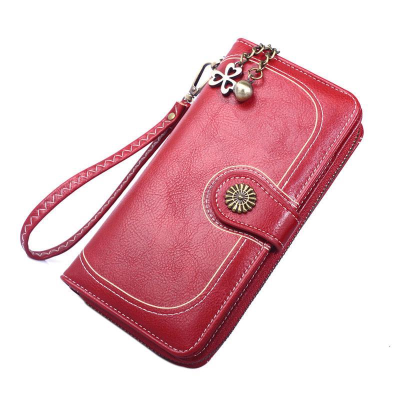 Frauen Geldbörsen Tasche PU-Leder Mode Brieftaschen Weibliche Reißverschluss Vintage Design Damen Lange Telefon Geld Buboe
