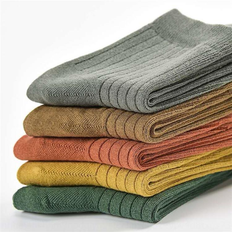 Autumn and winter new style men's medium high cotton socks tube imitation double needle cotton sockshigh-end fashion leisure socks absorb sw