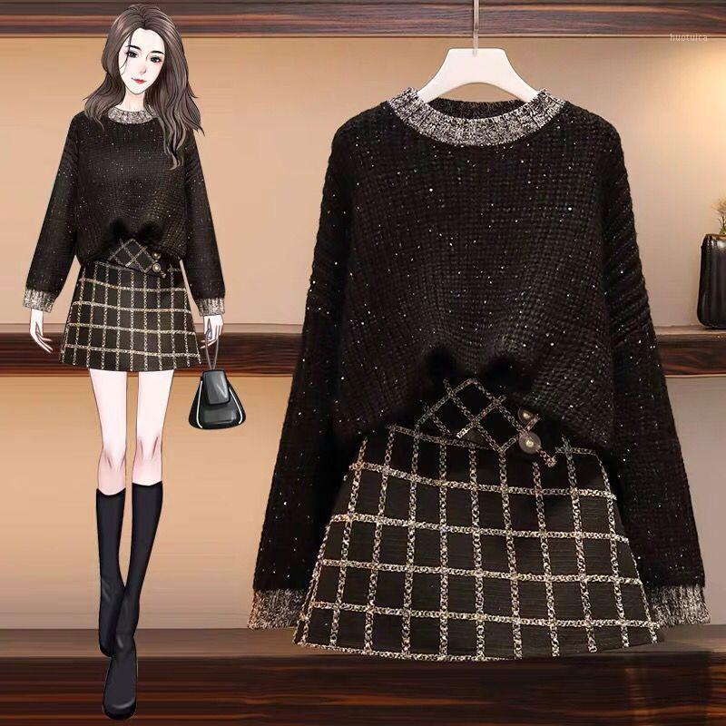 Два куска платье женская одежда блесток свитер 2 набор плюс размер плед мини юбка Корейский сладкий наряды Femme зимний свитер1