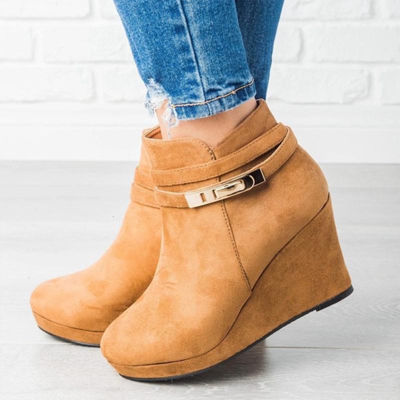 Kadın Kış Yüksek takozları Topuklar Kadın Ayakkabı Kısa Bilek Boots Kadın 2020 Moda Zip Bayanlar ayakkabı pompaları Artı boyutu 43