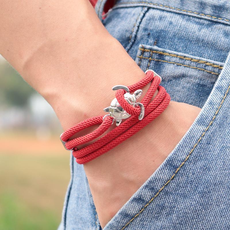 Подвески моды ручной работы Sea Turtle Viking браслет Многослойные Милан Rope Braslet для мужчин Armband Строка Adjustband Jewelry Homme