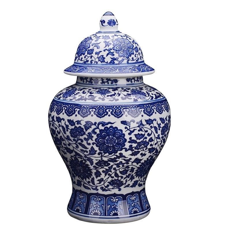 Античный синий и белый фарфоровый лотос генеральный танк имбирь дворецкие домохозяйственные джиндежен керамические украшения ваза LJ201209