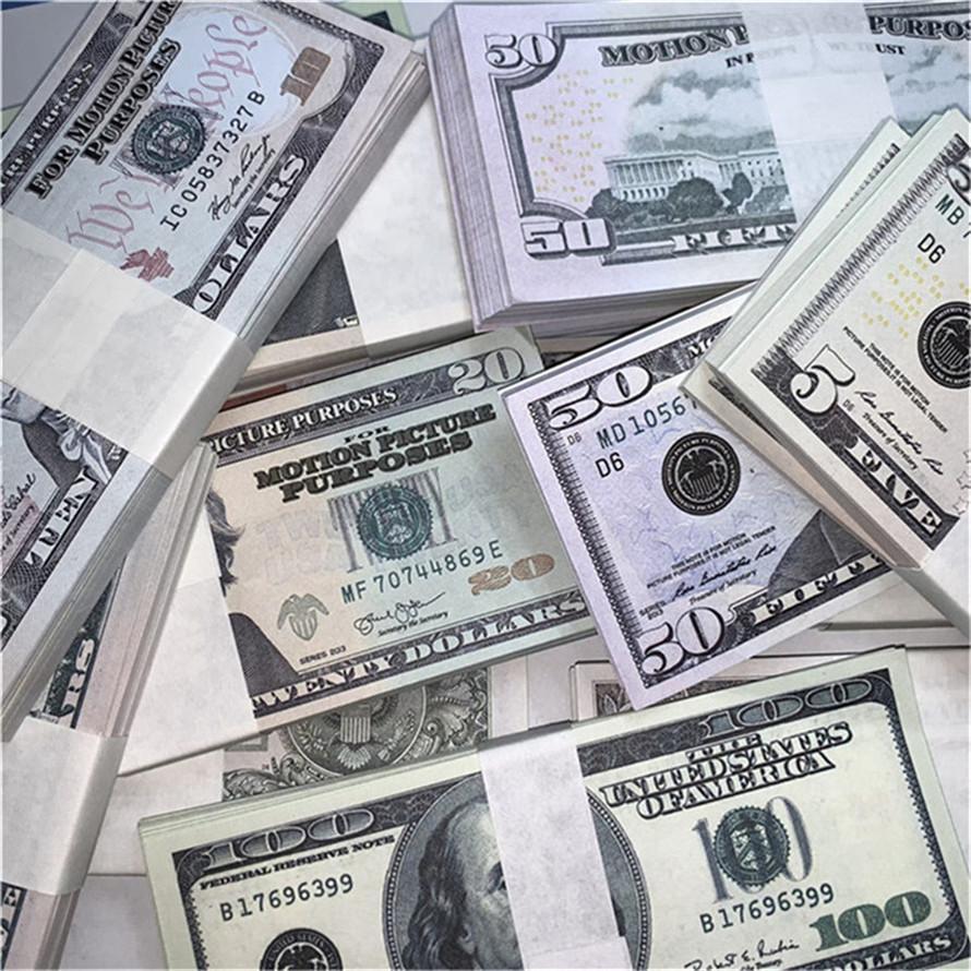 Requisiten Geldwährung Fälschung Dollar Euro-Kopie Geld Unmarkierte Bar Atmosphäre Bühne Party Requisiten Kleines quadratisches Spielzeugticket A192
