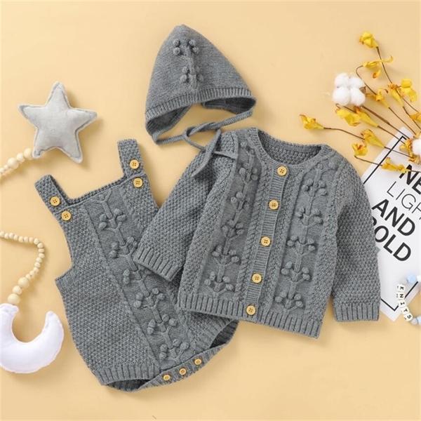 Örme Yenidoğan Erkek Sonbahar Kış Kıyafetler Pompoma Bebek Giysileri Yürüyor Giyim Seti Kız 1021