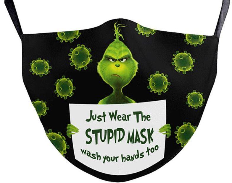Grinch roubou natal 3d impressão cosplay face máscaras reutilizável à prova de poeira lavável Máscara rosto de moda bonito por dhl