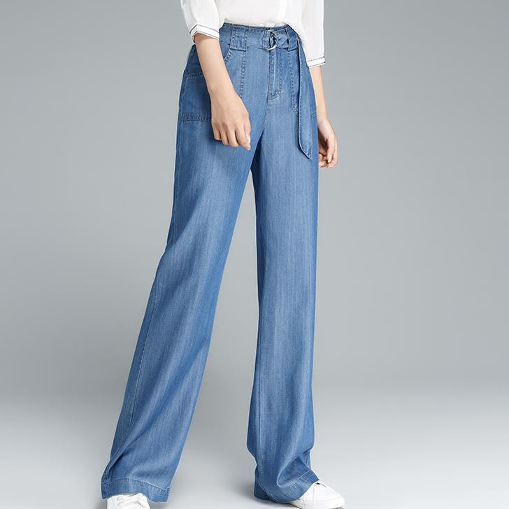 새로운 Tencel 청바지 여성 느슨한 넓은 다리 청바지 블루 스톤 워싱 소프트 스트레이트 긴 레저 플러스 사이즈 26-32