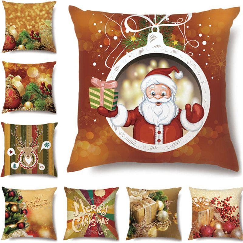 Рождественская подушка 45 * 45 наволочка диван подушки подушки чехлы хлопчатобумажные льняные подушки чехлы дома декор рождественских декор для дома 60 шт. T1i2500