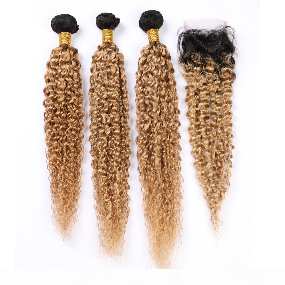# 1b 27 Miel Rubia Ombre Malasia Human Hair Extensions Kinky rizado 3bundos y cierre claro marrón ombre rizado humano pelo cierre de encaje