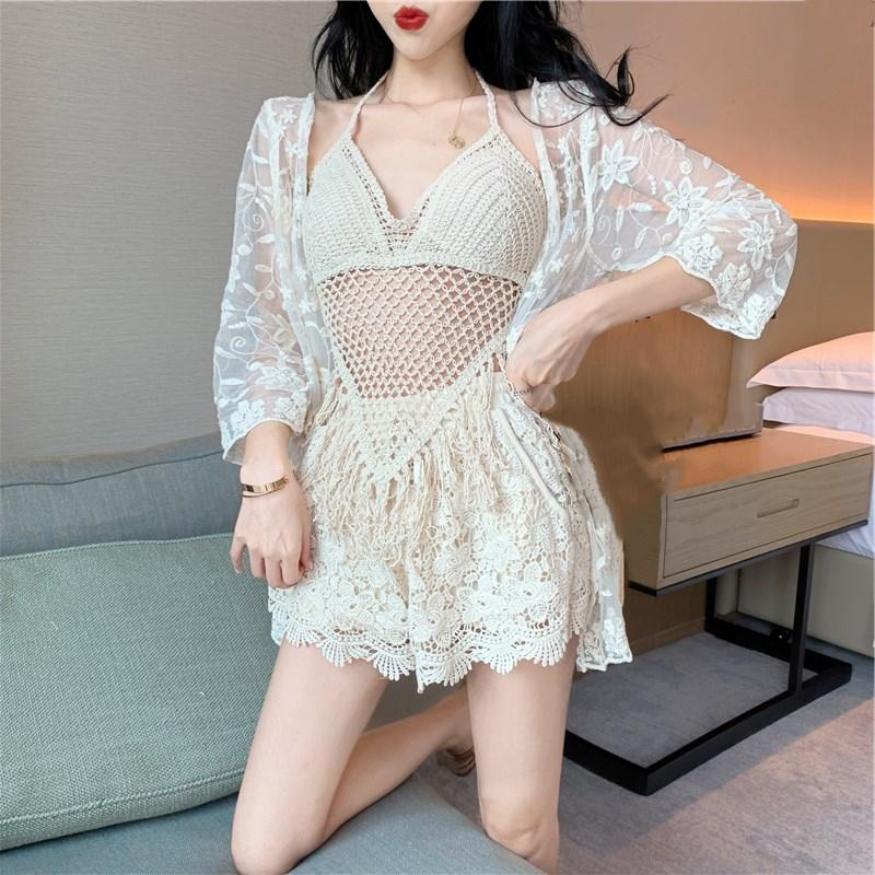 White literature girl Beige tassel hollow out knitted sexy cover up swimsuit bikini long sleeve bikini three piece swimsuit for women 6x7qj