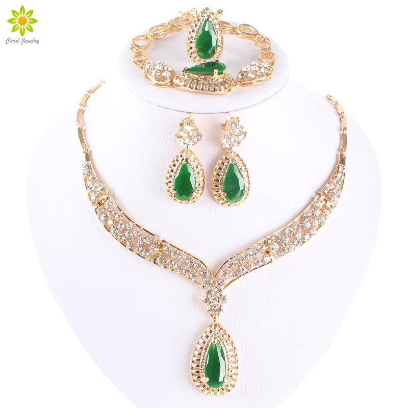 Fashion Crystal Necklace Collar Jewelry Sets For Women Party Accessories African Beads Earrings Bracelet Rings Set Vintage Green 201224