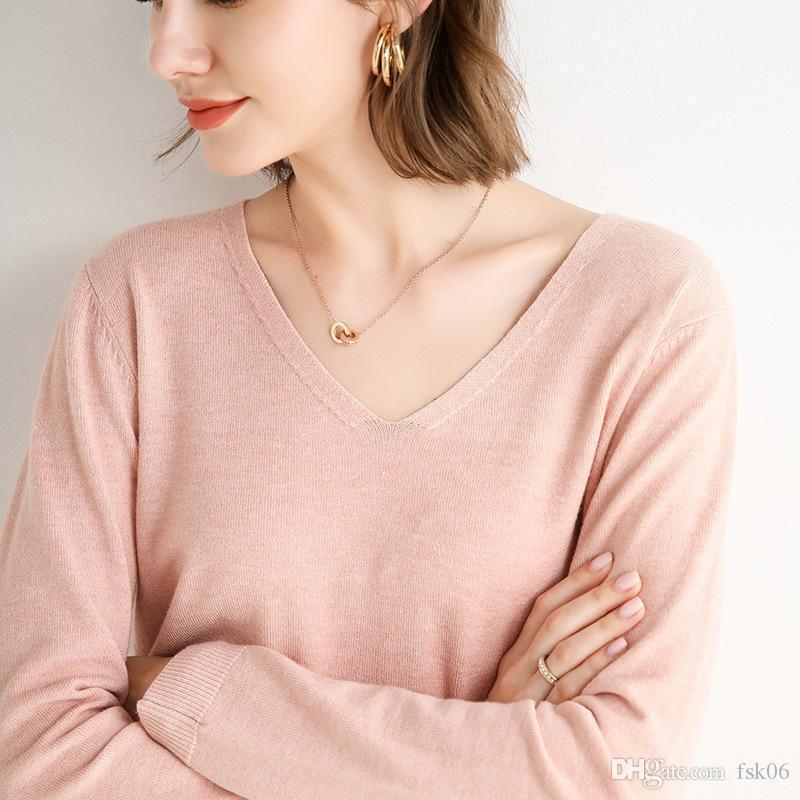Autunno e inverno 2020 nuovo maglione bottoming con scollo a V allentato corto maglione di colore solido stile pigro donne