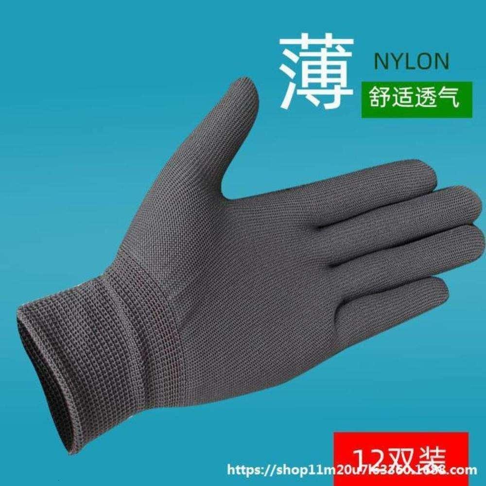 Пряжа нейлон короткие эластичные перчатки для грязных и дышащих рабочих женщин двойные мужские тонкие 12 перчаток серая охрана труда