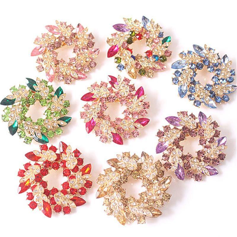 Spille di cristallo di cristallo di strass per le donne Wedding Bridal Party Turno Bouquet Bouquet Brooch Pin Cancella CZ Zircon Broocca Mish Color