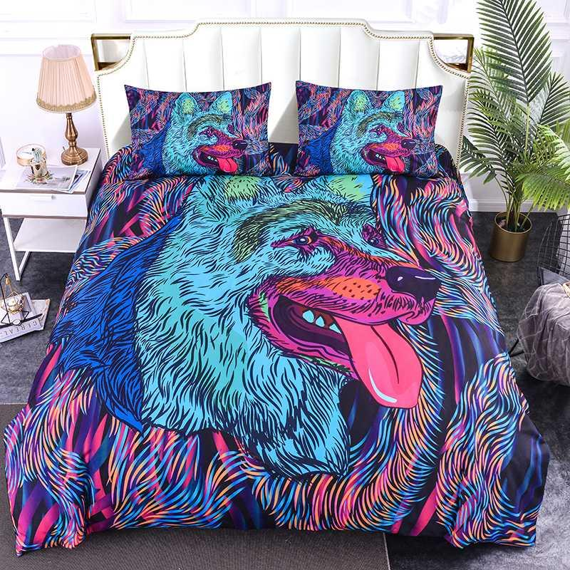 Couverture de couette 3D de Zeimon Wolf avec taies d'oreiller lit colorée Ensemble 2 / 3pcs Art Imprimer Literie Ensemble de literie pour adultes Décoration de la maison