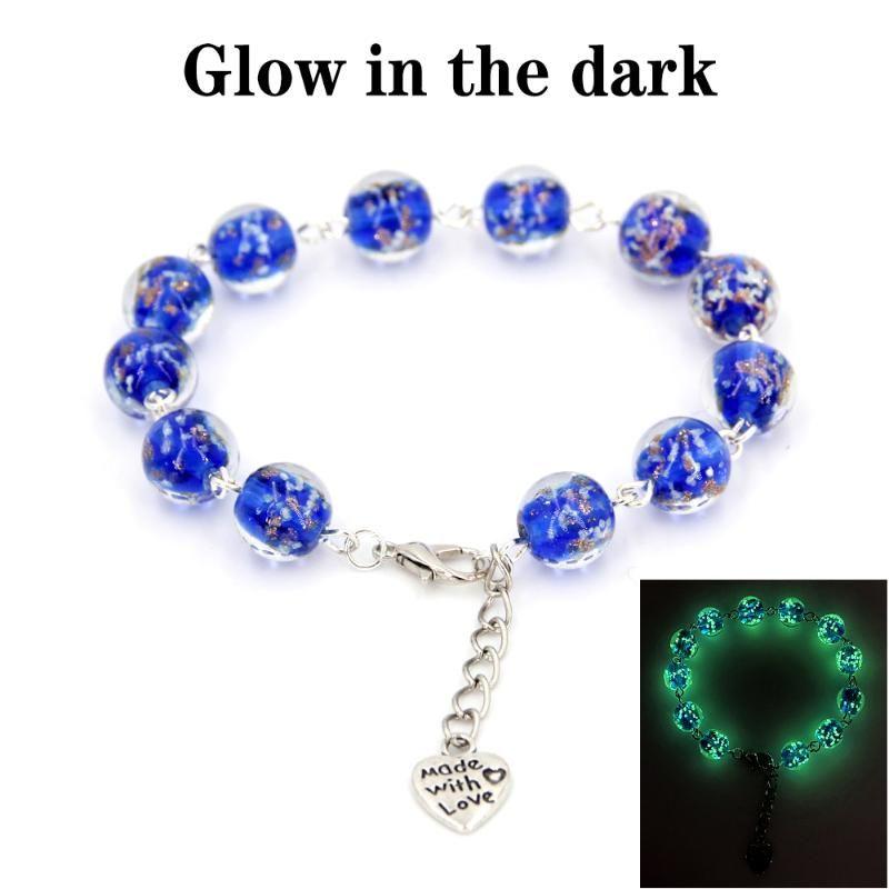 Braccialetto da donna Charm Blacele Blue Glow nelle perle scure Chamilia, elastici perline di vetro braccialetto luminoso, gioielli donna di fascino, per amanti