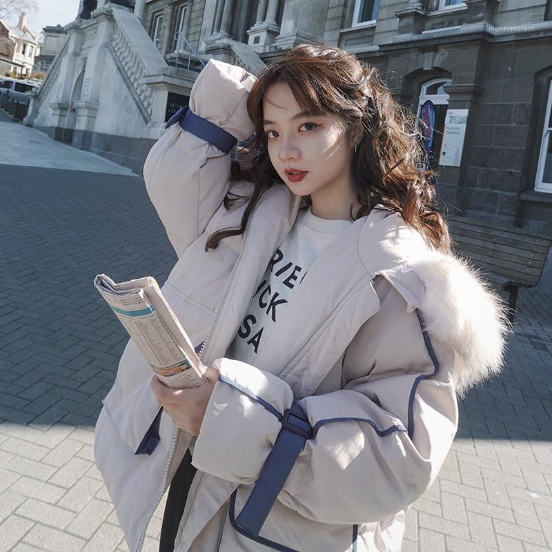 2021 Kış Giyim Kadın Kore Tarzı Ceketler Kadın Sıcak Pamuk Ceket Kadın Kapşonlu Parkas Büyük Kürk Yaka Femme Veste PPH23641
