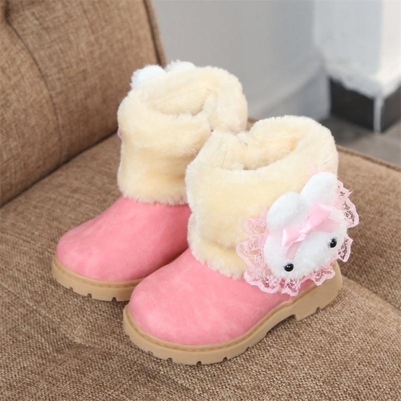 JGVIKOTO Baby Mädchen Kinderstiefel Kinder Warme Schneeschuhe mit Cartoon Kaninchen Plüsch Baumwolle Gepolsterte Süße Nette Mädchen Winterstiefel LJ201202