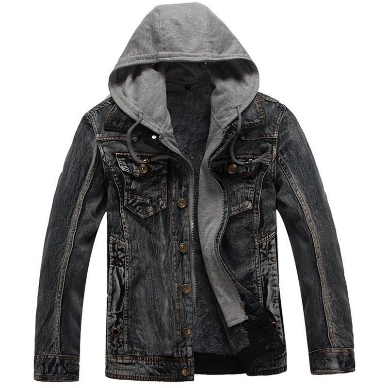 Men's Jackets Vogue Men Hooded Denim Jean Coats Autumn Winter Casual And Loose Size 3XL