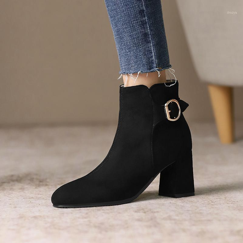 Plus Size 48 Fashion Ankle Boots for Women Casual Square High Heels Motorcycle Boots Autumn Winter Shoes Ladies1