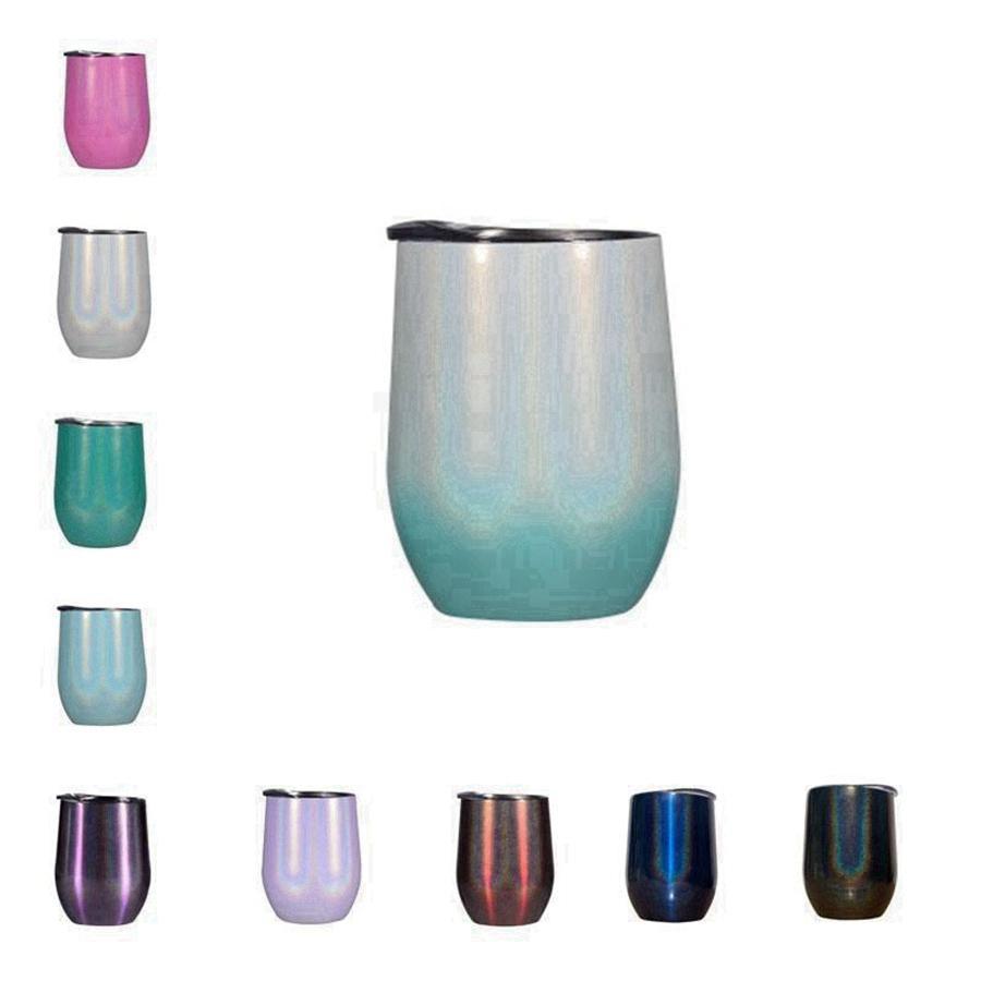 10 colori 12 once di scintillio Wine Tumbler con coperchi cannucce acciaio inossidabile arcobaleno a forma di uovo strato vuoto tazze Doppia tazza TRASPORTO MARITTIMO RRA3712