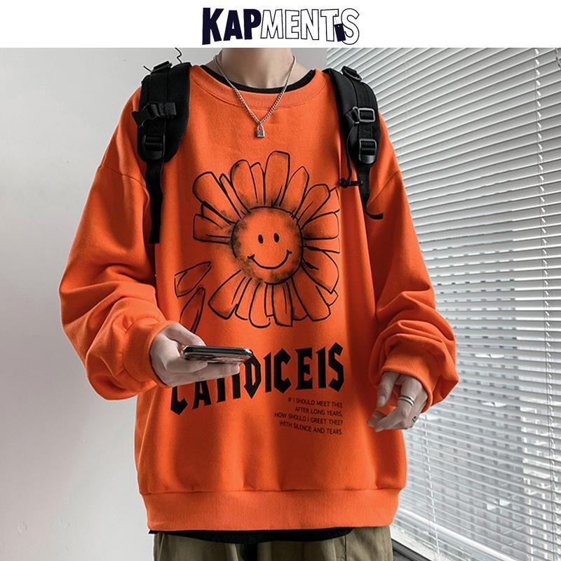 KAPMENTS Casual Men Korean Flower Print Hoodies 2020 Pullover Mens Streetwear Hip Hop Sweatshirts Male Oversized Harajuku Hoodie