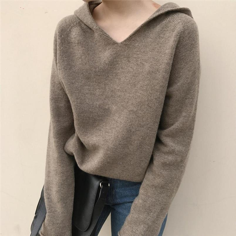 Весна и осень Новый Сыпучие вязать пуловер с капюшоном женщин кашемировый свитер сплошного цвета с капюшоном шерстяной свитер пальто