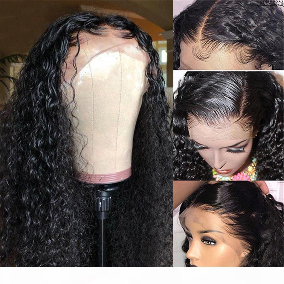 Kıvırcık İnsan Saç Peruk Öncesi Mızraplı ile Bebek Saç Remy Perulu Peruk Tutkalsız Dantel Ön İnsan Saç Peruk İçin Siyah Kadınlar