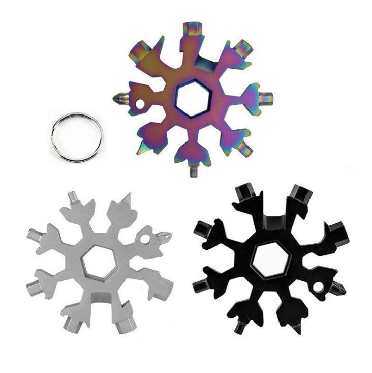 18 en 1 campo de alza herramienta de bolsillo llavero multifunción llavero multipurposer sobreviven Abridores al aire libre del copo de nieve de varios spanne llave hexagonal SN1607