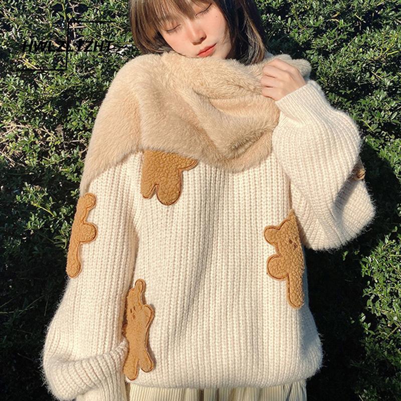 HWLZLTZHT coreana perder Sweater Urso Imprimir Kawaii capuz de tricô Jumpers inverno camisola de mangas compridas 201017