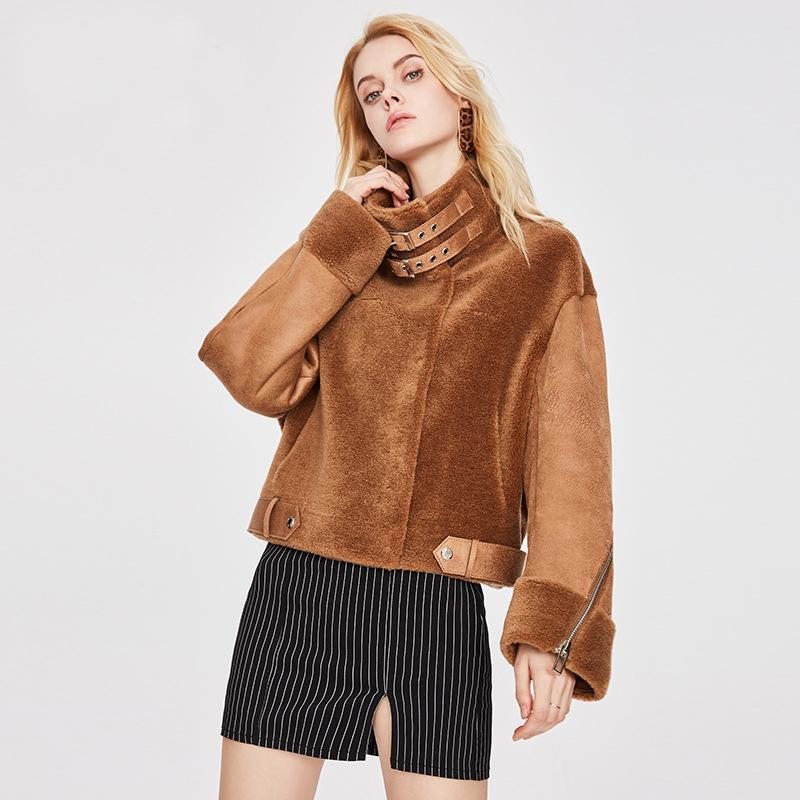2021 Новые зимние овцы пэчворк черный цвет старинные поворотный воротник женские обрезанные куртки пальто Chaquea Mujer T6VQ