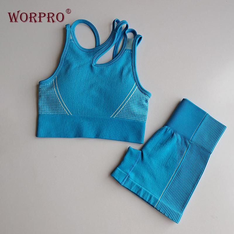 2 Parça Spor Seti Kadınlar Için Set Egzersiz Giysileri Şort Set Ultra Kesintisiz Spor Sutyen Yüksek Vuruş Şort Yaz Bayan Atletik Y1225