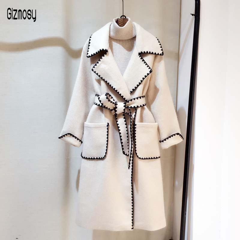 2020 otoño invierno nuevo de las mujeres Borde ondulado collar traje abrigo largo de lana Mujer Escudo sólido suelto CA3316 lanas de la manera informal