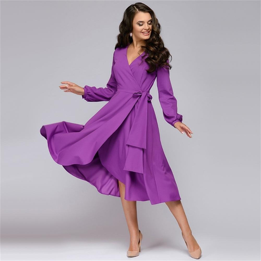 Frauen Vintage Schärpen A-line Party Kleid Langarm Sexy V-Ausschnitt Solide Elegante Casual Kleid 2020 Sommer Neue Mode Frauen Kleid LJ200824