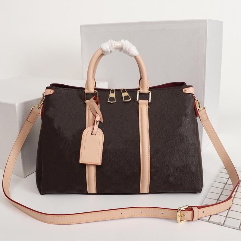 Classic Open Handbag Purse Large Capacity Women Tote Bag Genuine Leather Hand Bags Detachable Shoulder Strap Bag Crossbody Bags Duffle Bag