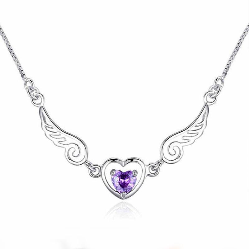 Coração amor colar de corrente roxo pandant Anjo para colar Mulher menina jóias curto presente