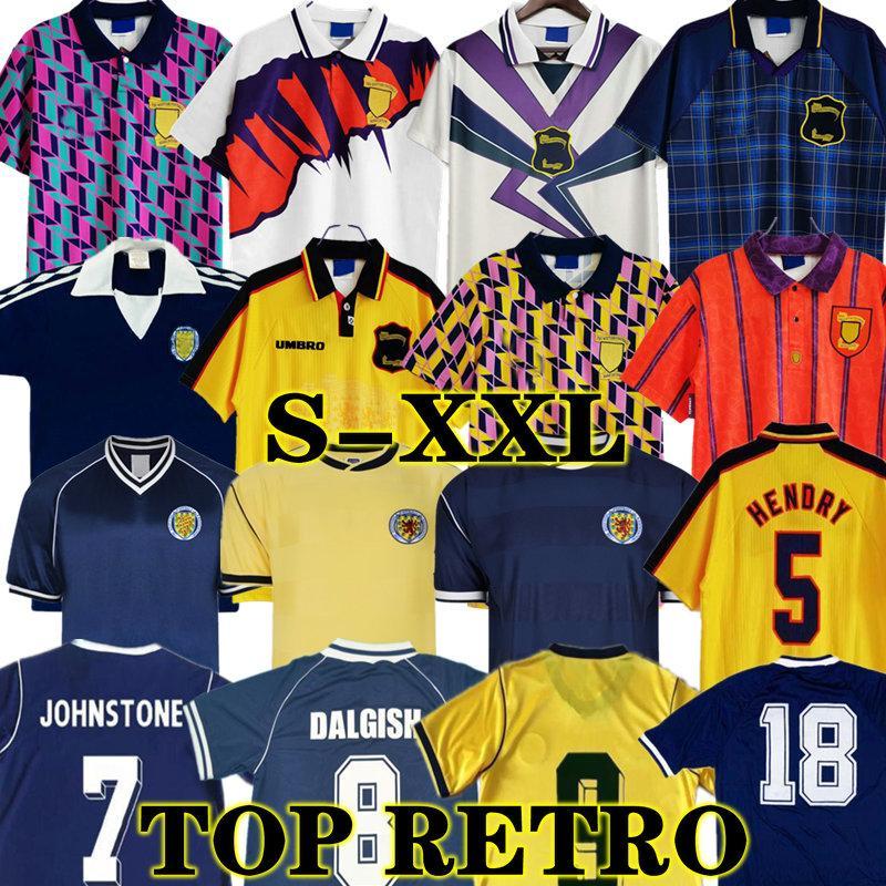 1986 1995 2000 Schottland Retro Fussball Jersey Classic 96 98 Weltcup-Ausrüstung Home Blue Kits 1996 1998 89 90 91 Vintage Football Hemd 78 82