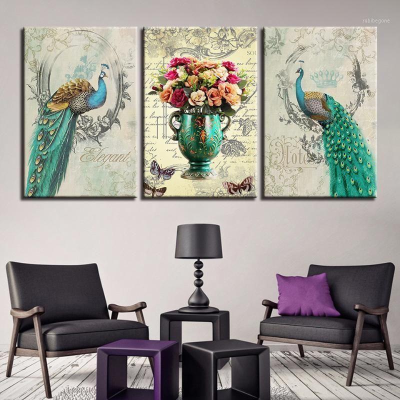Immagini di tela home decor soggiorno wall art 3 pezzi verde peafowl flower pittura hd stampe pavone coppia poster quadro quadro1