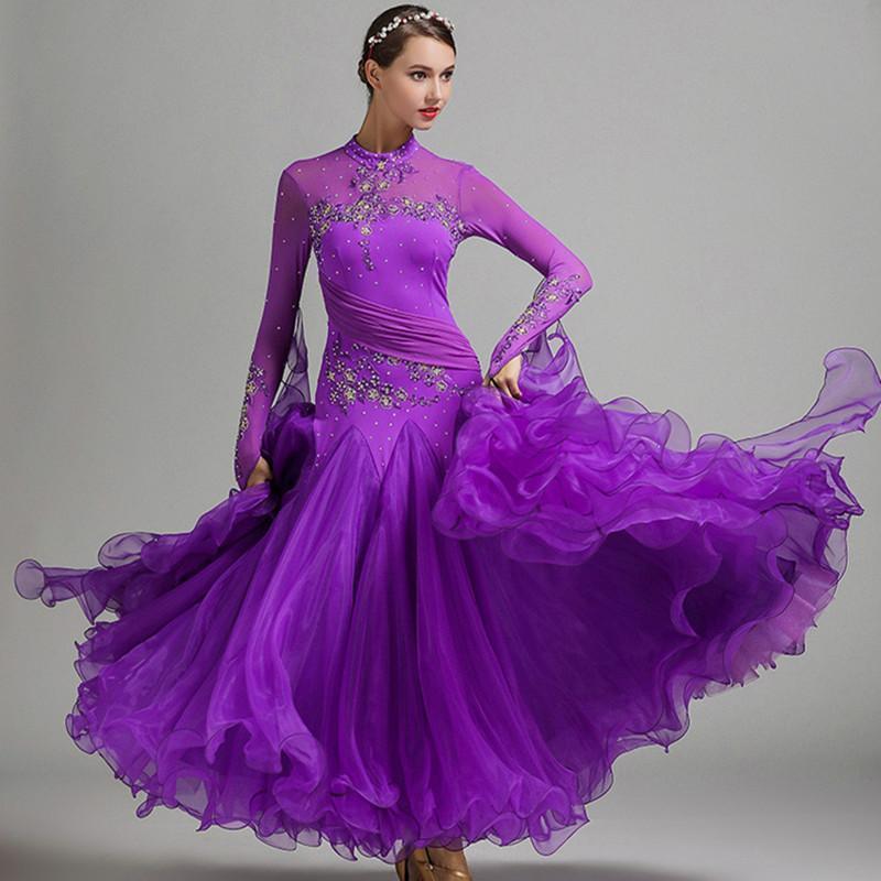 abito blu frangia della sala da ballo abiti da ballo donne valzer vestito da ballo standard di foxtrot costumi luminosi rumba lungo