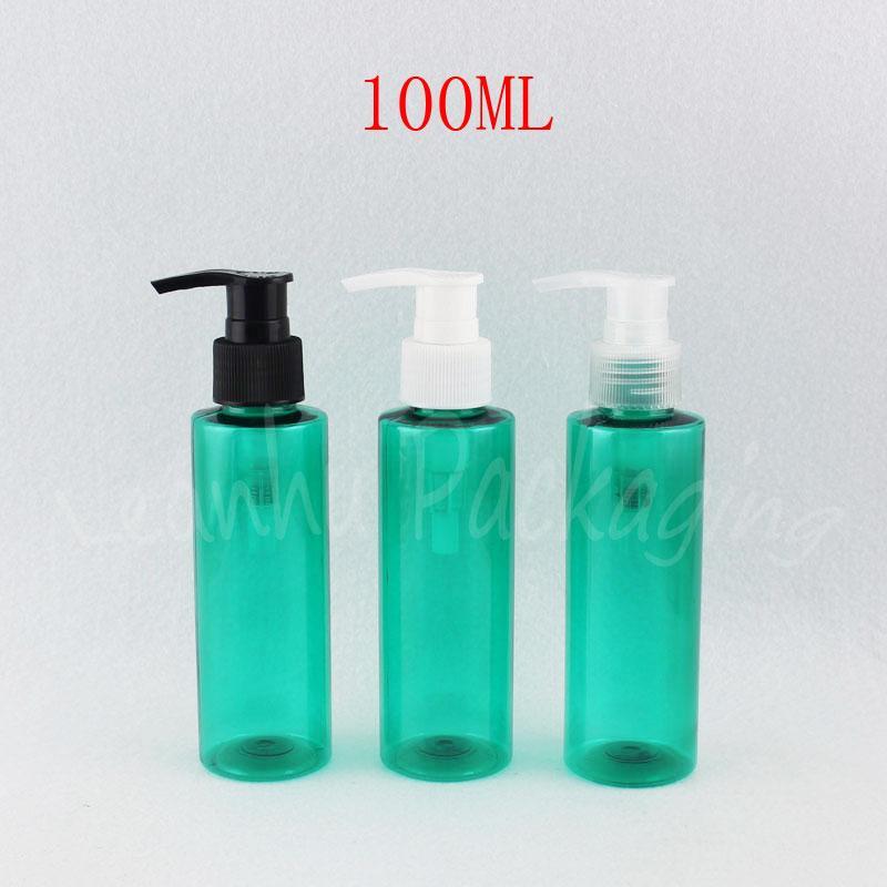 Losyon Pompası, 100CC Şampuan / Alt-şişeleme Boş Kozmetik Konteyner ile 100ML Yeşil Düz Omuz Plastik Şişe