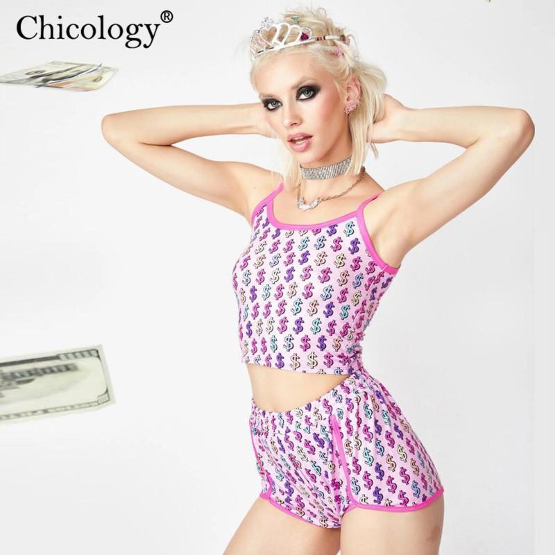 Chicology $ долларов печать урожай CAMIS верхней высокой талии короткой женский 2 два куска набор 2020 лета сексуальных женщин одежды клуб снаряжения