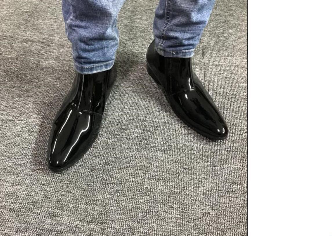 neue Ankunftsmänner der spitzen Zehe Knöchel Lackstiefel mujer botas Herr shinny Parteischuhe Reißverschluss Leder