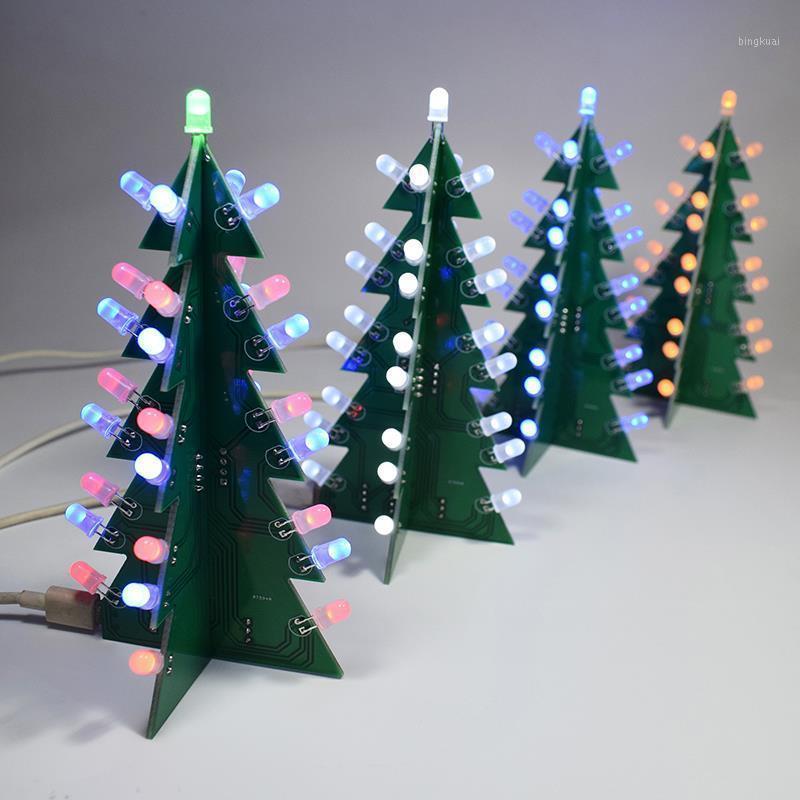DIY 키트 크리스마스 트리 LED 회로 전자 PCB 보드 모듈 빨간색 녹색 플래시 빛 전자 정장 휴가 장식 1